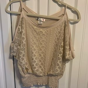 Body Central Cream Lace Off the Shoulder Top
